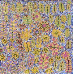 Margaret Kemarre Ross Bush Medicine Plants Acrylic on linen, 46 x 46cm Artists of Ampilatwatja Eastern Desert, NT. For more Aboriginal art visit us at www.mccullochandmcculloch.com.au #aboriginalart #australianart #contemporaryart