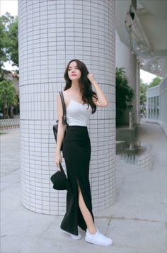 charming casual dress ideas to fashion your revamp around page 29 Korean Girl Fashion, Korean Fashion Trends, Asian Fashion, Look Fashion, Skirt Fashion, Fashion Dresses, Fashion Tips, Ulzzang Fashion Summer, Fashion Quiz