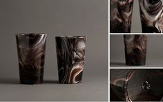 1890s. Slag-glass tumblers with smokey marbling.  Quy Nguyen finds interesting looking things.