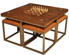NEW SARREID GAMES TABLE SET PEWTER ANTIQUE MIRROR FRUITWOOD BRASS HANDLE #Sarreid Diy Table, Wood Table, Table And Chairs, Gaming Table Diy, Table Stools, Board Game Table, Table Games, Game Tables, Board Games