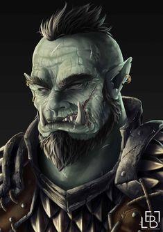 Barbarian Dnd, Half Orc Barbarian, Dungeons And Dragons Races, Dungeons And Dragons Characters, Fantasy Portraits, Character Portraits, Baldur's Gate Portraits, Orc Warrior, Fantasy Warrior