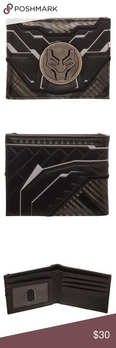 Black Panther Movie Suit Up Wallet Marvel Comics This wallet resembles Black Panther's outfit, as seen in the Black Panther and Avengers movies.  It has a metal emblem on the front of Black Panther.  Inside there's plenty of room for cards and cash.  Made by Bioworld.  What's Inside: •   Three Horizontal card pockets •   Two Vertical Card Pockets •   One Transparent ID Window •   One Full Size Currency Compartment  Metal badge on front.  Makes a great gift!  Intended for Ages 14 and up…