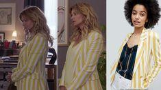 Blazer jaune et blanc de Chloé Delcourt dans Demain nous appartient - Ingrid Chauvin