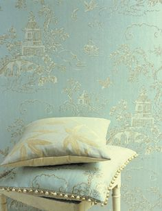 Aquamarine chinoiserie wallpaper, 'Chinese Bridges' by GP & J Baker, England (they have the Queen's Warrant).