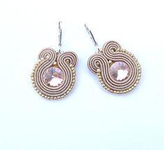Golden Dangle Earrings Soutache Earrings Jewelry  by StudioGianna, $15.00