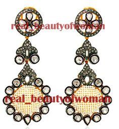 Artdeco Design 4.88ct Real Rose Polki Antique Cut Diamond Pearl Wedding Danglers #realbeautyofwoman