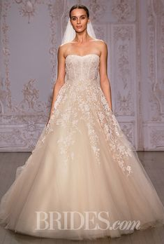 "Brides.com: . ""Paradise"" strapless peach embroidered lace ball gown wedding dress with a sweetheart neckline, Monique Lhuillier"