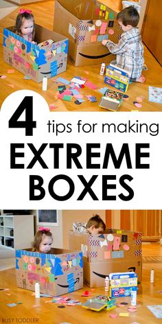 4 Tips for Extreme Box Decorating - Busy Toddler TIPS FOR MAKING EXTREME BOXES: This isn't normal box decorating - this is a legitimate toddler activity that kids love so much! A great indoor activity Toddler Learning Activities, Indoor Activities For Kids, Infant Activities, Preschool Activities, Kids Learning, Creative Activities, 4 Year Old Activities, Toddler Play, Toddler Preschool