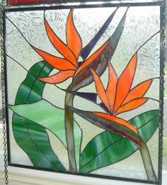 Stained Glass Bird of Paradise Panel by StainedGlassDanaLin, $280.00