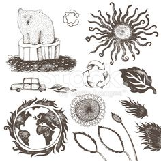Enviromental conservation doodle royalty-free stock vector art