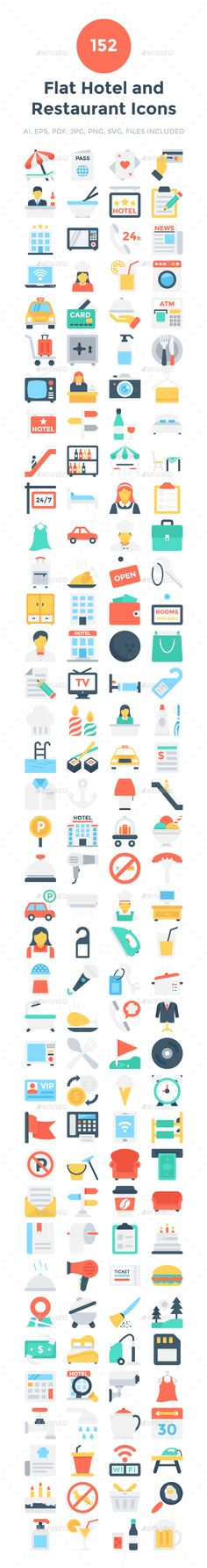 152 Flat Hotel and Restaurant Icons