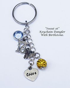 SWEET 16.  Sixteen. Keychain Dangler. by JewelryImpressions                                                                                                                                                     More