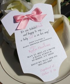Baby Shower Invitation for Girl in Shape of Onesie with Pink Satin Bow! #BabyShower