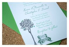 Park Bench Under a Tree Wedding Invitations  by SparetireDesign