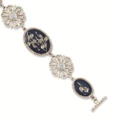 Silver-tone Blue Oval Flower Toggle 7in Bracelet - 1928 Antiqued Boutique - Vintage Styling - Jewelry