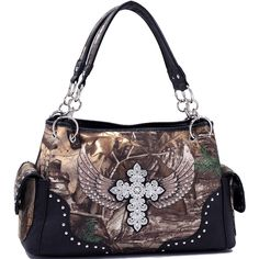 Realtree® Concealed Carry Ambidextrous Camo Handbag w/ Cross & Wings | The Wanted Wardrobe Boutique