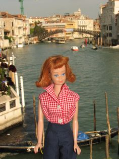 Midge enjoying the sights on the Grand Canal in Venice. O.k., there is something a bit disturbing about this. But I had a Midge doll in the 1960's - used, of course. Maybe my Midge knew something I didn't? That I'd get to Venice some day? Groovy.