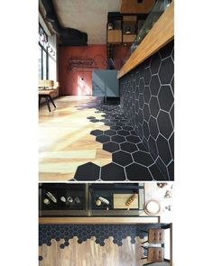 Tiles Transition Into Wood Flooring Inside This Cafe In Greece Black hexagon tiles and wood laminate flooring are a design element in this modern cafe.Black hexagon tiles and wood laminate flooring are a design element in this modern cafe. Black Hexagon Tile, Hexagon Tiles, Black Tiles, Honeycomb Tile, Hexagon Backsplash, Honeycomb Shape, Hexagon Shape, Wood Laminate Flooring, Kitchen Flooring