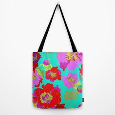 Popping Petals // Canvas Tote // Bag by MarcellaWylie on Etsy, £26.00