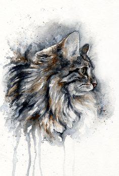 15 Amazing Watercolour Cat Drawings And Cat Portraits By Artist Braden Duncan Watercolor Cat, Watercolor Animals, Watercolor Paintings, Watercolors, Animal Paintings, Animal Drawings, Cat Drawing, Cat Art, Pet Portraits