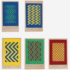 Athos Bulcão Feliz - Década de 1950. Conjunto de 5 colagens de papel trançado…