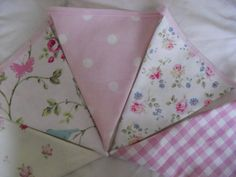 Pink and White Spot, Pink Gingham, Bird, Abbeville Flower and Cut Flowers Cath Kidston and Laura Ashley fabric Bunting 3 metres (120) via Etsy