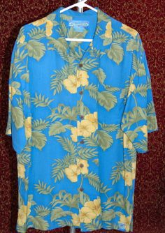 BERMUDA BAY Hawaiian blue silk floral button front shirt XL (T30-0DC7G) #BermudaBay #Hawaiian