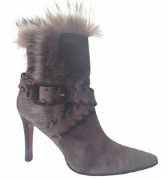 1c998ebe2da These Christian Louboutin Gray Suede Mid Calf Buckle with The Fur  Boots Booties Size US are a top 10 member favorite on Tradesy.