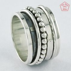 Sz 7 US, PRETTY DESIGNER 925 STERLING SILVER SPINNER RING, R4406 #SilvexImagesIndiaPvtLtd #Spinner #AllOccasions