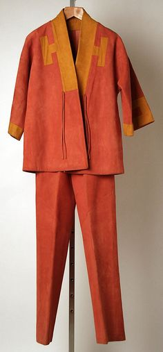 Grapefruit and goldenrod suede pantsuit, by Bonnie Cashin, American, spring/summer 1975.