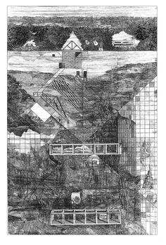 Dopo l'Architettura Moderna, Drawing by Franco Purini, ink on tracing paper.