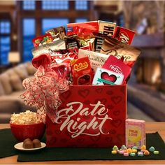 Date Night Gift Box (Candy Bouquet - Valentine's Day/Thinking of You), Red Valentines Day Baskets, Valentines Gifts For Her, Valentine Box, Valentine Ideas, Walmart Valentines, Romantic Valentines Day Ideas, Valentine Poster, Date Night Gifts, Valentine's Day Gift Baskets