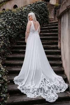 3454 by Allure Bridals pairs a lux chiffon fabric with a lace bodice and delicate banding. A cutout lace train stuns from every angle Wedding Dress Train, Classic Wedding Dress, Wedding Gowns, Lace Wedding, Bridal Looks, Bridal Style, Allure Romance, Girls Dresses, Flower Girl Dresses