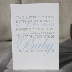 Then Comes Baby In a Baby Carriage Blue Card Sitting In A Tree, Baby Carriage, Little Birds, Paper Dolls, How To Find Out, Stationery, Marriage, Greeting Cards, Cards Against Humanity
