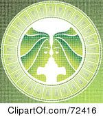 Royalty Free RF Clipart Illustration Of A Green Gemini Twins Horoscope Mosaic Tile Background by cidepix