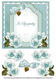 DTeal Magnolia In Sympathy Fancy 7in Decoupage Topper on Craftsuprint - Add To Basket!