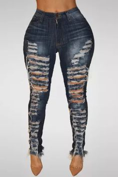 Deep Blue Trendy High Waist Broken Holes Dark Blue Denim Pants Jeans Skinny, Slim Jeans, Ripped Jeans, Skinny Waist, Women's Jeans, Plus Size Jeans, Estilo Jeans, Look Street Style, Jumpsuit Dress