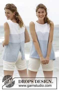 Knitted DROPS top with stripes and button band at the back in Paris. Free knitting pattern by DROPS Design. Sweater Knitting Patterns, Knitting Yarn, Knit Patterns, Free Knitting, Finger Knitting, Drops Design, Summer Knitting, How To Purl Knit, Knit Crochet