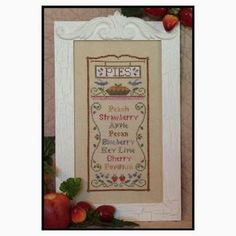 Pie Menu: A Cross Stitch Chart by Country Cottage Needleworks Cross Stitching, Cross Stitch Embroidery, Cross Stitch Patterns, Country Cottage Needleworks, Fabric Display, Cross Stitch Kitchen, Dmc Floss, Sewing Rooms, Hanging Wall Art