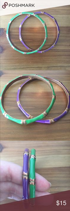 Green and purple set of bangles Green and purple set of bangle bracelets. Will sell separately too if you prefer one to the other. Excellent used condition. Jewelry Bracelets