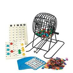 This bingo set is great for any carnival or party. Set includes bingo ball cage, bingo master board, 18 bingo cards, bag of 300 bingo chips, and plastic bingo balls numbered 1-75. Not for children und