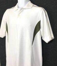 68d78403 Perry Ellis Callaway Polo Golf Shirt Size Medium White Stripe #PerryEllis  #PoloRugby