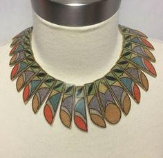 0d8051b1c23ef2 Fan Bib Necklace Painted Sand Inlay Glazed Enamel Statement Piece Vintage  #bibnecklace #cleopatrafeather #