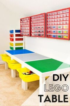 This DIY Lego table is perfect for your little master builder! With built-in drawers and storage on the wall, this is the perfect place to create and play! Tutorial at The Handyman's Daughter! | lego room | lego table idea | lego storage | playroom | kids room | toy storage | #lego #legostorage #PlayroomDecor #playrooms #playroomideas #toystorage #diyproject