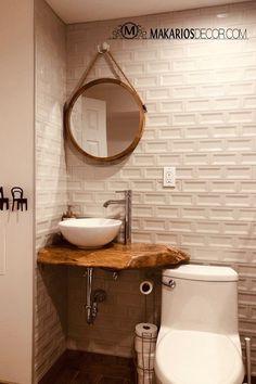 Amazing DIY Bathroom Ideas, Bathroom Decor, Bathroom Remodel and Bathroom Projects to help inspire your master bathroom dreams and goals. Rustic Bathroom Vanities, Wood Bathroom, Bathroom Interior, Bathroom Ideas, Bathroom Organization, Bathroom Inspiration, Bathroom Mirrors, Bathroom Storage, Bathroom Cabinets
