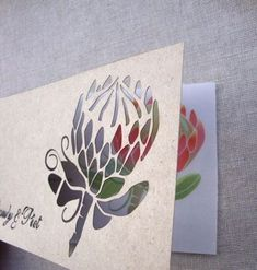 Protea is one of the latest trends in so have a look at the ideas to make your wedding super trendy! Protea bouquets are awesome and very original – just take one or several flowers. Protea Art, Stencil Painting, Fabric Painting, Protea Wedding, Safari Wedding, Laser Art, Stencil Designs, Wedding Stationary, Knitting Designs