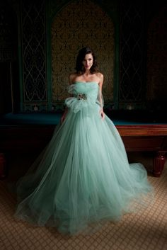 Tulle strapless Ball Gown in Mint. - Karen Caldwell