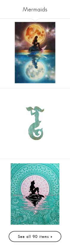 """Mermaids"" by haikuandkysses ❤ liked on Polyvore featuring mermaids, home, home decor, wall art, aqua home accessories, aqua home decor, aqua panels, vintage home decor, vintage home accessories and ariel halloween costume"