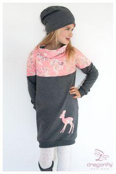 Kleider - Sweatkleid mit Schalkragen ♥ Bambi - ein Designerstück von dragonflyDESIGNS bei DaWanda