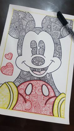 Drawing disney, mickey mouse drawings, disney drawings, drawing sketches, d Doodle Art Drawing, Art Drawings Sketches, Easy Drawings, Drawing Drawing, Drawing Tips, Drawing Ideas, Easy Mandala Drawing, Mandala Doodle, Mandala Art Lesson